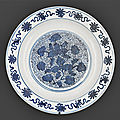A large blue and white charger, china, late ming dynasty