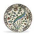 An <b>Iznik</b> <b>pottery</b> <b>dish</b>, Ottoman Turkey, circa 1640