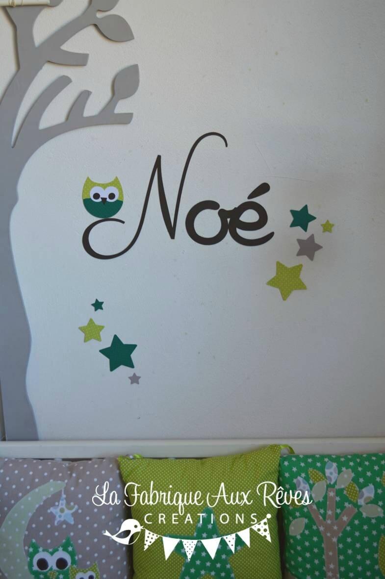stickers prénom garçon hibou étoiles chocolat anis vert - décoration ...