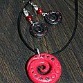 parure (45) spirale rouge-noir