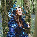 La fée bleu & sa coiffe aux 1000 papillons. projet en collaboration avec déborah germain.