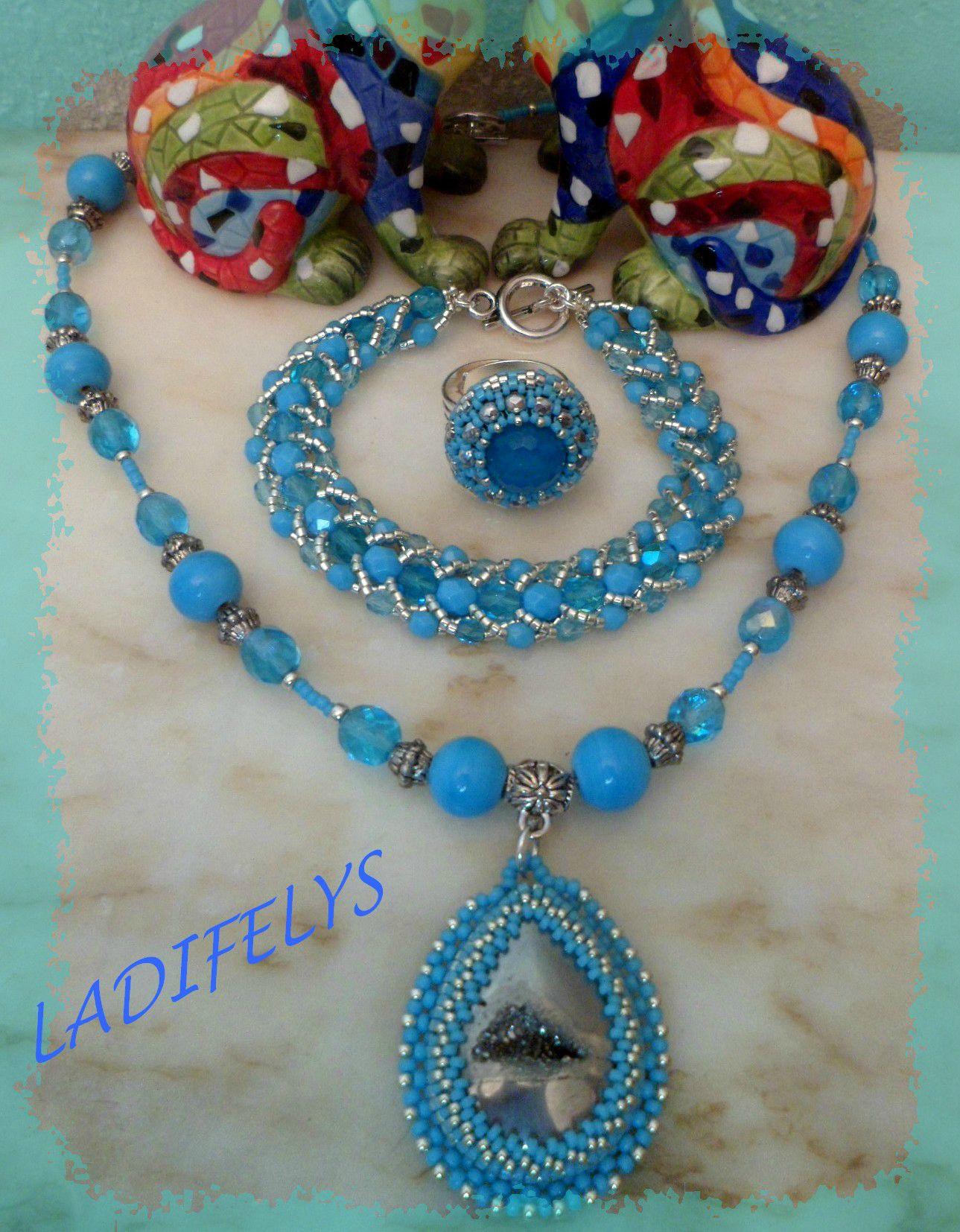 785 parure turquoise titane