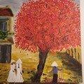 L arbre rouge - grande toile de 75 x 75 cm