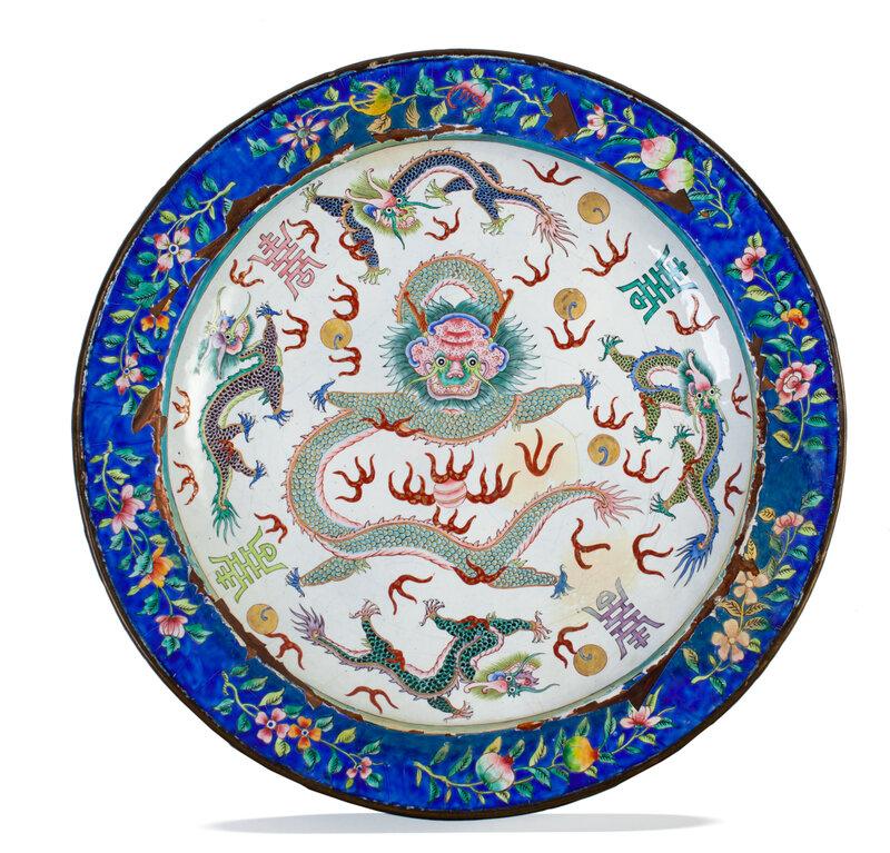 Important plat en émaux de Huế, marque et période de Minh Mạng (1839-1841)