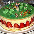 Un <b>fraisier</b> aux petits légumes de printemps!?!?