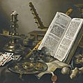 Pieter Claesz. (Berchem 1597/8 - 1660/1 Haarlem), <b>Vanitas</b> still life with a book, a glass roemer, a skull, a lute, a pack of car