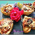 Bouchées feuilletées aux poivrons, olives