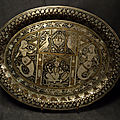 Ancien Plateau Damasquiné Niellé Indo-<b>Persan</b> Perse Antique Engraved Tray / Ref IND04