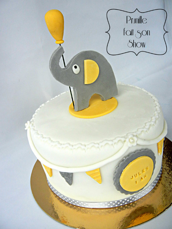 gateau elephant 1 an jules gris jaune prunillefee 3