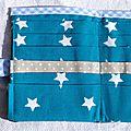 25. simili cuir chocolat, turquoise étoilé et vichy bleu - intérieur