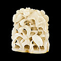 A white jade reticulated 'lotus and egrets' finial, <b>Ming</b> dynasty (1368-1644)