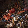 Cornelis de heem (leyde, 1631 - anvers, 1695), composition de fruits, plat kraak, papillons et citron