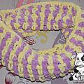 Snood tout doux, en jaune et violet