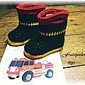 Pantoufles bottes de pompier