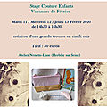 Stage <b>couture</b> <b>enfants</b>, vacances de Février 2020