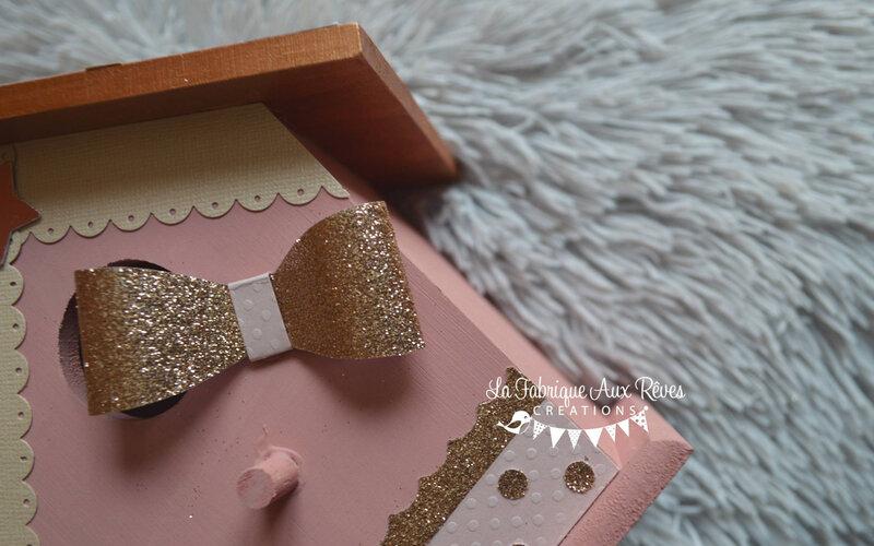 nichoir bois rose gold paillette glitter - décoration chambre bébé fille rose gold