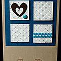 04. caramel, bleu, blanc et chocolat - 4 carrés