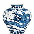 A magnificent very rare large blue and white 'dragon' jar, guan, Xuande four-character mark in underglaze blue and of the period (1426-1435)