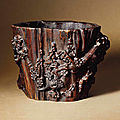 A chenxiangmu <b>brush</b> <b>pot</b>, 17th century