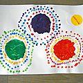Fleurs en empreintes des doigts - mélange de couleurs