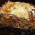 Aubergines farçies à la tomate-basilic et gros piments