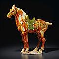 A large <b>sancai</b>-<b>glazed</b> <b>pottery</b> horse, Tang dynasty (618-907)