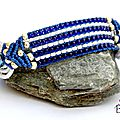 Bracelet Tissé Macramé <b>Bleu</b> Roi <b>Blanc</b> Cristal