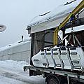 Notre bob-raft tout rembourré et la flamme olympique de La Plagne