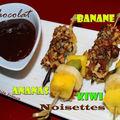 Brochettes de fruits au chocolat