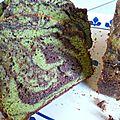Cake marbré pistache et chocolat