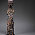A very rare carved <b>wood</b> <b>figure</b> of a court lady, Chu Kingdom-Warring States Period (221-263)