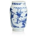 A blue and white tapering cylindrical vase, Transitional. Photo Bonhams.