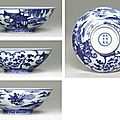 A Very Rare <b>and</b> Fine Blue <b>and</b> White Bowl, <b>Xuande</b> six-character <b>mark</b> in underglaze blue within a double circle <b>and</b> of the <b>period</b>