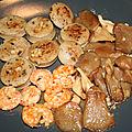 Boudin blanc truffé et <b>gambas</b> aux pleurotes