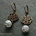 Boucles d'oreilles en laiton bronze et en cristal de roche craquelé