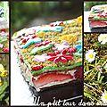 P'tit gâteau jardin fleuri, biscuit pistache, mousse au chocolat blanc, fraises et framboises
