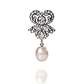 <b>Broche</b> <b>perle</b> <b>fine</b> et <b>diamants</b>