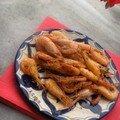 Un tapas : crevettes sautées au piment d'espelette et flambées au whisky