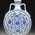 A very rare blue and white garlic-head moonflask, <b>Qianlong</b> <b>period</b> (<b>1736</b>-<b>1795</b>)