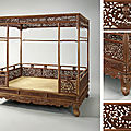 An imperial huanghuali <b>six</b>-<b>post</b> '<b>dragon</b>' <b>canopy</b> <b>bed</b>, jiazichuang, Qing dynasty, 18th century