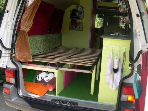 lit 2 places d pli combi volkswagen transporter t4 photo de 3 me am nagement t4 camping car. Black Bedroom Furniture Sets. Home Design Ideas