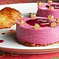 Mousse fruits rouges et fromage blanc sur lit de rhubarbe