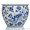 A good copper-red und blue and white decorated porcelain cachepot with fishes and water plants, China, early Kangxi period