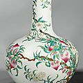 A large famille-rose 'peach' vase, late 19th-early 20th century