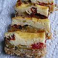 Bouchées de cheesecake au chèvre frais, courgettes et tomates
