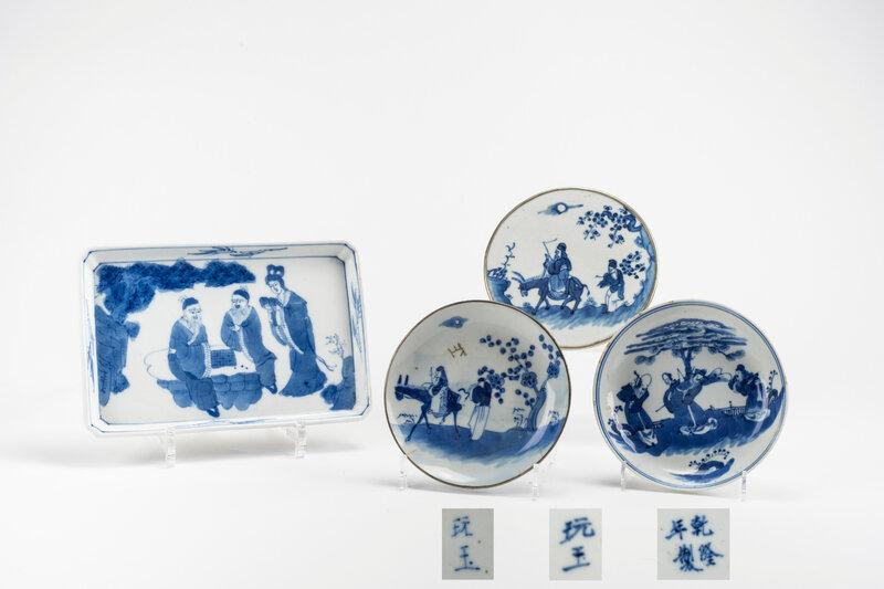 Quatre porcelaines 'Bleu de Huê', Chine pour le Vietnam, 19e siècle