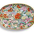 A finefamille-rose <b>mille</b>-<b>fleurs</b> tray, seal mark and period of Qianlong (1736-1795)