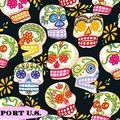 Tissu Mini Mexican Skulls Black pour robe pin Up, jupe circle, c