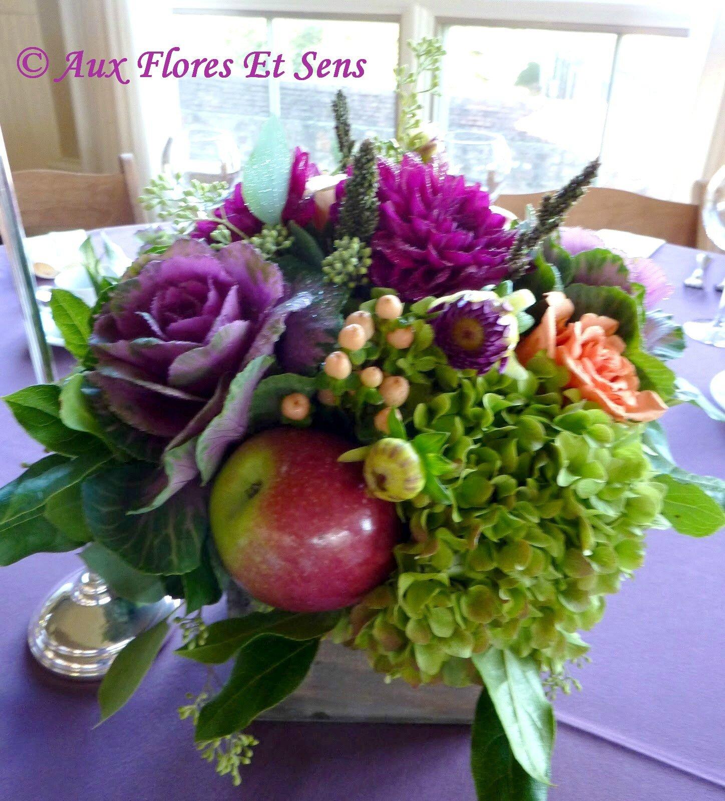 Centre de table Pomme, Hortensia & Dahlia
