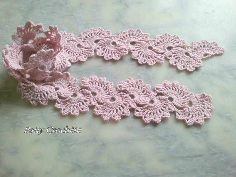 écharpe coquille rose laine Phildar partner 3